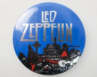 """Vintage Led Zeppelin 2.5"""" Pin Back Button Badge"""