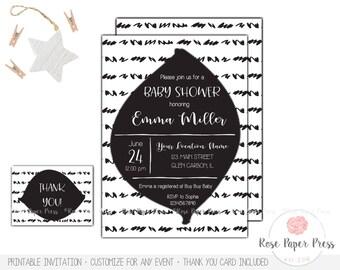 Modern Baby Shower Invitation Set | Custom Invitation | Black and White | Thank You Card | Printable Invitation | Modern Invitation