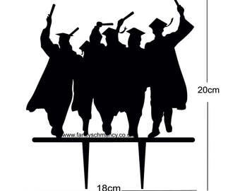 Laser Cut Graduation Group Cake Topper 3mm Black Acrylic