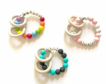 Personalized silicone teething ring/ rattle