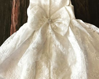Couture Ivory Lace Baby Girl Baptism Dress /Flower Girl Dress / Baptism Dress / Lace Bow Dress / Christening Dress / Flower Girl