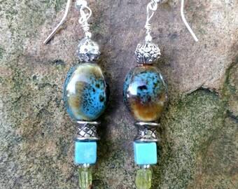 Earth Beneath Your Feet Peridot, Howlite, & Porcelain bead Dangle Earrings