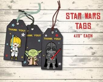 """Star Wars tags, Star Wars thank you tags, Star Wars party tags, Star Wars favor tags! 10 different tags, 4x2"""" each!"""