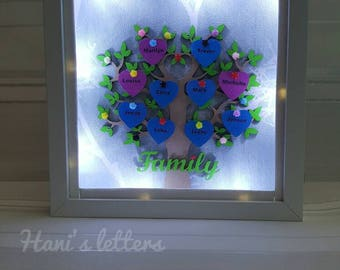 Light family tree, family tree frame, personalised family tree, fathers day, grandchildren tree, family gift, birthday, anniversary