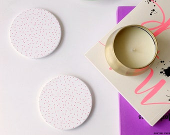 Pink dotted circular coasters, birthday gift, gift, for her