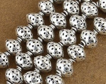 12mm x 10mm Silver Findings Filigree Bali Beads 8-1/4 inch Long Strand- Silver Beads -Jewelry Supplies