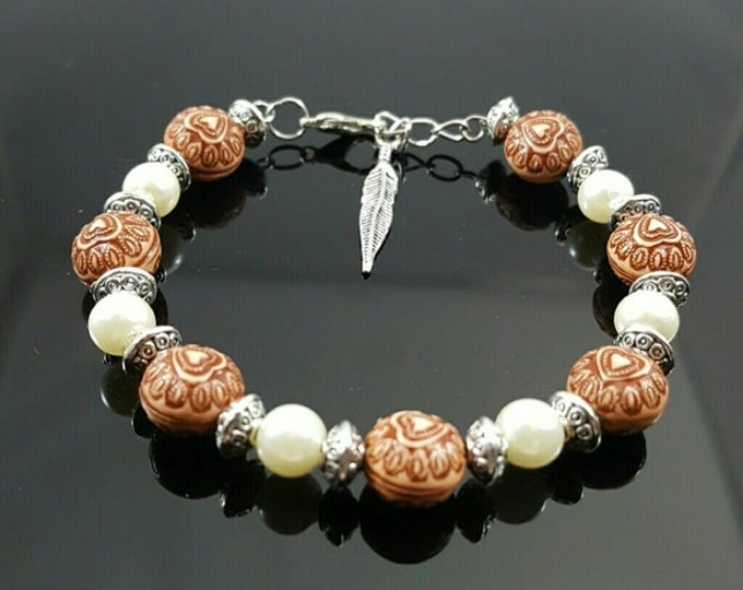 Handmade Heart and Pearl Bracelet