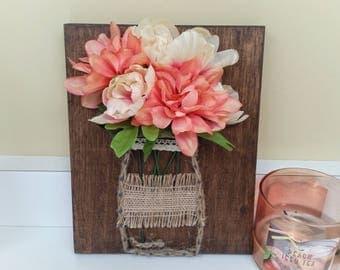Floral Mason Jar String Art, Wood Sign, Rustic Decor, Flower Decor, Mason Jar Decor, Floral Art, Dhalia, Spring Decor, Nature Decor, Peach