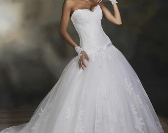 Ball Skirt Wedding Dress with Lace Bottom