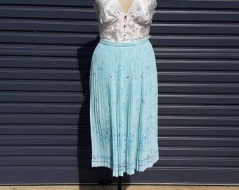 Vintage Pastel Blue and Pink Skirt with Pleats