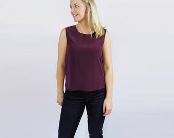 Pure Silk Sleeveless Top Maroon