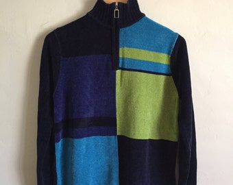 Vintage Blue & Green Geometric Sweater Size Medium