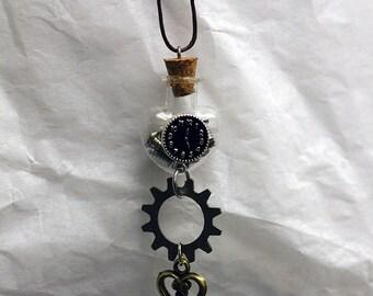 Steampunk Charm Necklace, Charm Necklace, Bottle Charm Necklace