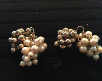 Vintage 1950's Clip On Pearl and Gold Beaded Dangle Earrings
