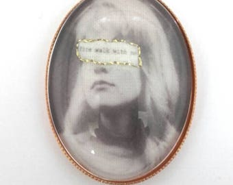 Laura Palmer Twin Peaks hand embroidered brooch