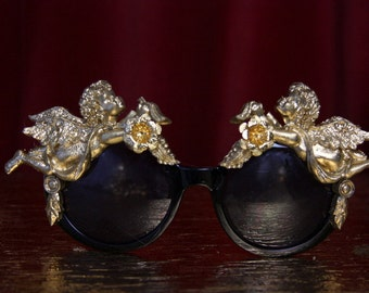 Gold Baroque Angel Cherub  Embellished Rococo Shades Sunglasses