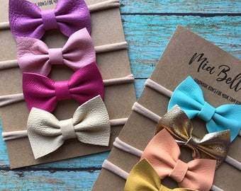 Leather bows, genuine leather, basic bow