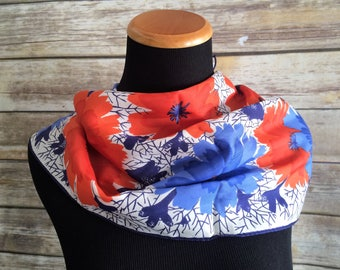 Bright and Cheerful Red and Blue Floral Print 1980's Fashion Scarf by Vera