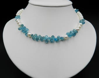 Blue Lagoon Apatite necklace, freshwater round white pearls, sterling silver