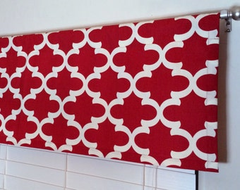 Red Valance   Window Valance   50 X 16 Valance   Kitchen Valance