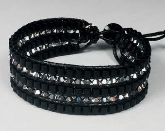 Silver or gold rose Swarovski Cuff Bracelet and Matt Black Miyuki