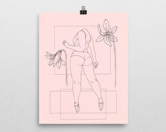 Pink - Original Ink Illustration Print - 8x10 in.