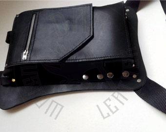 Handmade leather LEG BAG for Gun, Leather motorcycle Bag, Leg Holster Utility Belt, Moto Leg Bag, Mens Gift