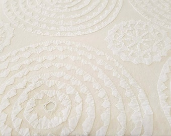 Handmade Indian Cutwork Bedspread - Cream Circles with Mirrors – QUEEN