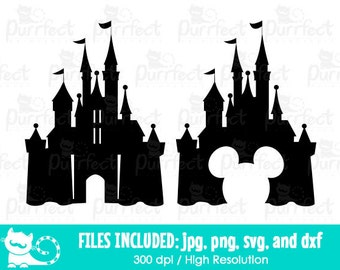 Disney Castle SVG, Mickey and Minnie Disney Castle SVG, Disney Digital Cut Files in svg, dxf, png and jpg, Printable Clipart