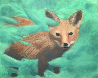 Original pastel painting baby fox submitted to exhibition
