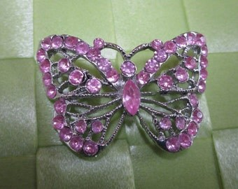 """1 piece in 1 1/2"""" x 1 1/4"""" width silver tone color w/ pink acrylic bead butterfly pattern brooch for your sewing decorative. (b4)"""