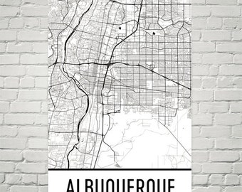 Albuquerque Map, Albuquerque Art, Albuquerque Print, Albuquerque NM Poster, Albuquerque Wall Art, Map of Albuquerque, Gift, Decor, Modern