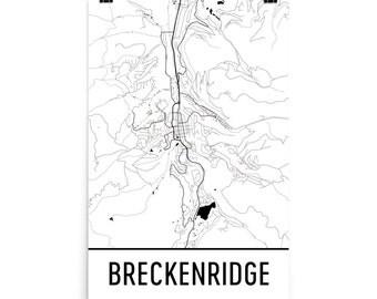 Breckenridge Map, Breckenridge CO Art, Breckenridge Print, Breckenridge CO Poster, Breckenridge Wall Art, Map of Breckenridge, Gift, Decor