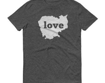 Cambodia, Cambodian Dress, Cambodia Shirt, Cambodia T Shirt, Cambodia TShirt, Cambodia Map, Cambodian Gifts, Made in Cambodia, Love Shirt