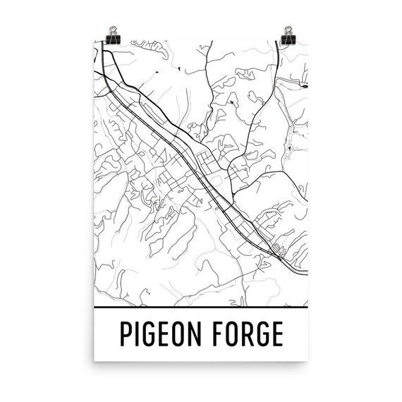 Pigeon Forge Map Art Print