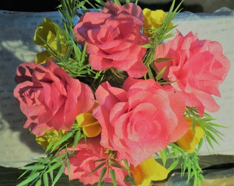Flower Bowl pink roses and Tulips