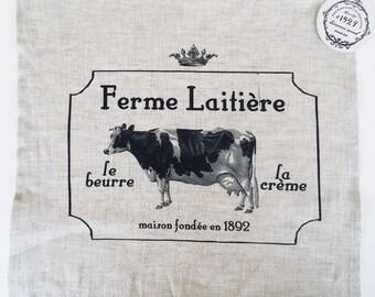 Linen napkin. Cow