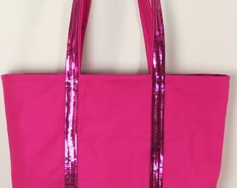 Vanessa Bruno style fushia pink tote with fushia pink sequins