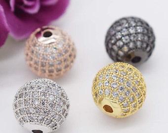 2pcs/10/50/100pcs Shamballa round ball bead Micro Pave Bead,Clear Cubic Zirconia CZ beads,Women Bracelet Charms,6mm/8mm/10mm/12mm/14mm/16mm