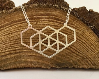 Teacher gifts, graduation gifts, Hexagon necklace, geekery, necklace,Spring 2017, science necklace, geometry, sacred geometry,