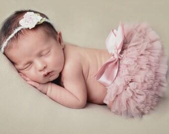 Romantic Newborn Tutu Skirt and Floral Headband Set, Newborn Photo Prop