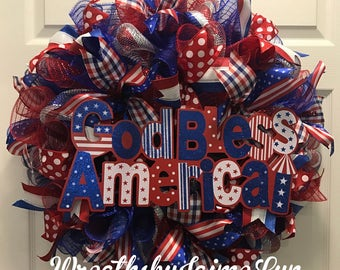 Patriotic wreath, God Bless America Wreath, Red White and Blue Wreath, American Wreath, Memorial Day Wreath, Fourth of July Wreath