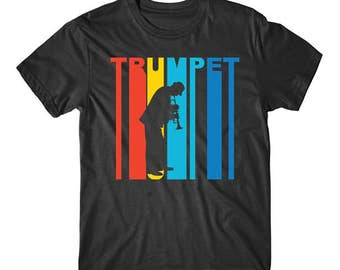 Retro 1970's Style Trumpet Player Silhouette Music T-Shirt