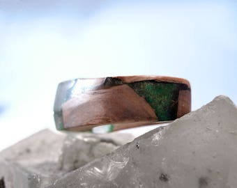 Elven worlds, Amadinia Moss, wooden rings from Mirabelle plum tree wood, unique handmade - 61