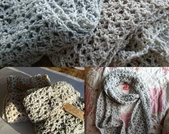 Lacy crochet infinity scarf