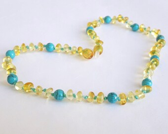 Amber teething necklace turquoise necklace baltic amber baby necklace turquoise and amber necklace for babies amber gemstone baby gift