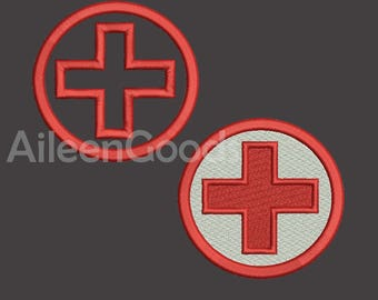 Red Cross Applique and Filled Embroidery design 6 Size INSTANT download machine embroidery