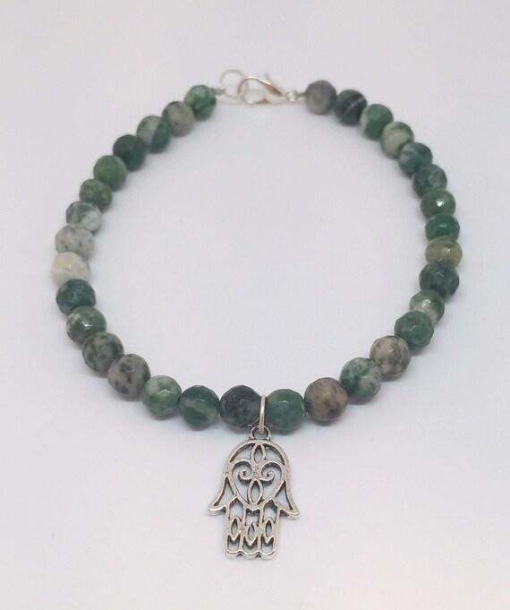 Ching Hai Jade Gemstone Bracelet, Mala Bracelet, Yoga Bracelet, Meditation Bracelet, Beaded Bracelet, Gift For Her, Charm Bracelet,