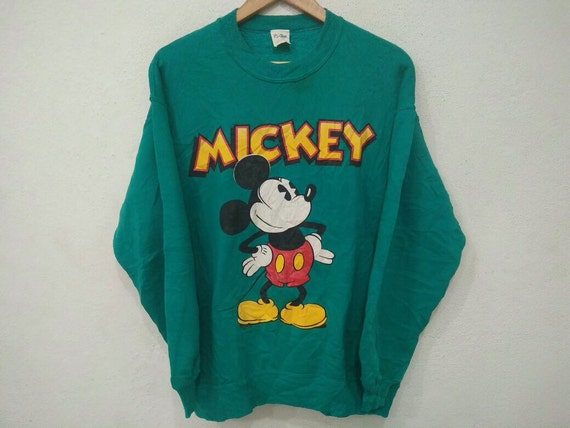 Rare!! Vingate MICKEY MOUSE Big Logo Sweatshirt 90's Green Colour Large Size Made In Usa