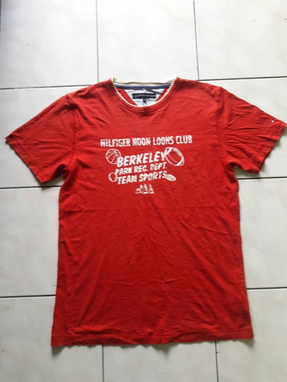 SALE 20% !! Vintage Tommy Hilfiger tshirt Noon Loons Club Team Sport hip hop